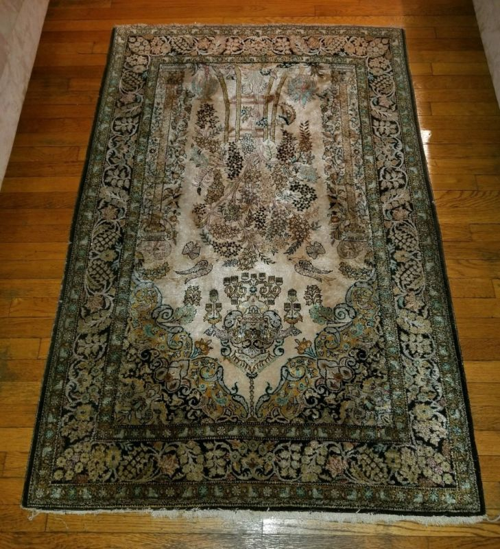"""Persian Hand Knotted Nain Wool And Silk Area Rug Ebth: 63"""" X 42"""" HAND KNOTTED PERSIAN NAIN RUG IRAN HANDMADE"""