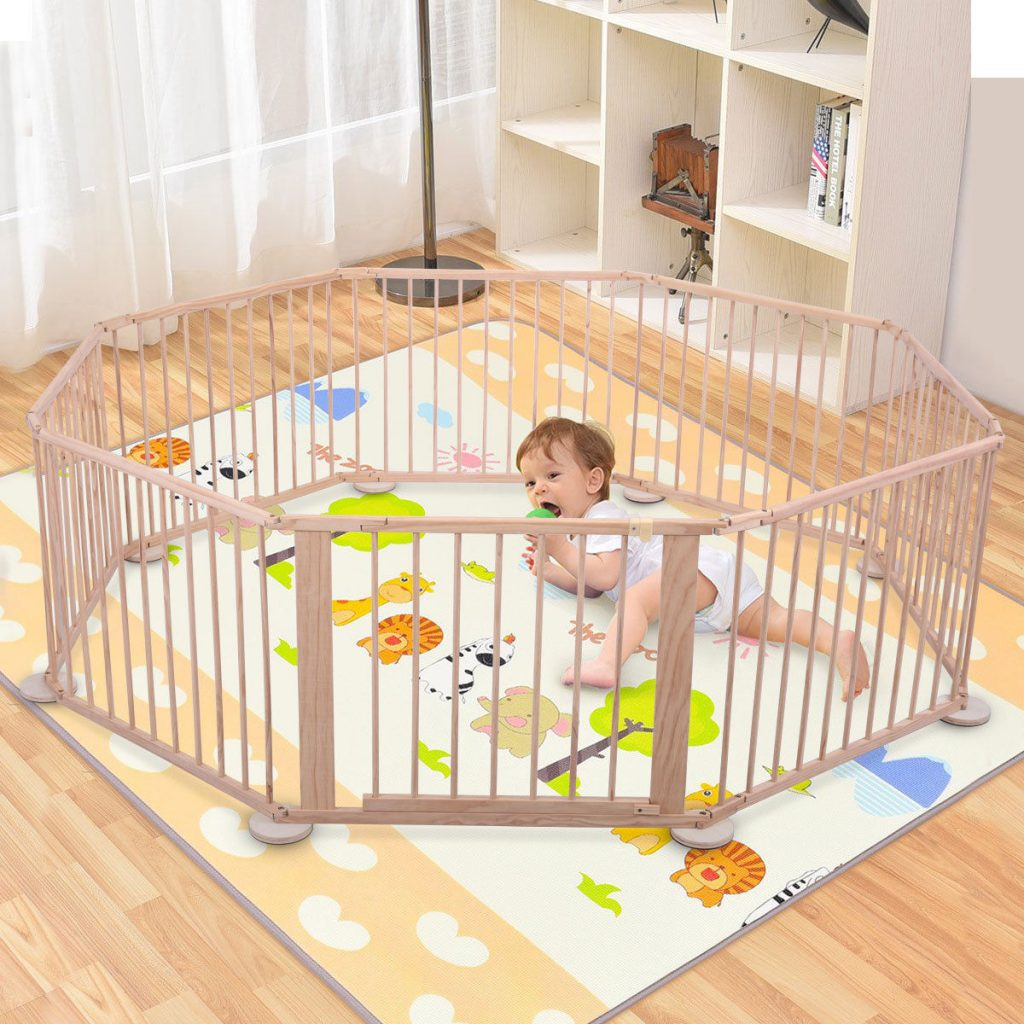 Baby playpen foldable wooden indoor outdoor frame kids for Childrens play yard