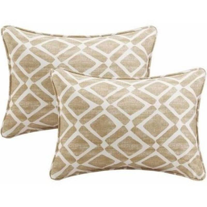 Oblong throw pillows small decorative set of 2 tan white for Small decorative throw pillows
